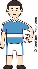Foot ball player doodle cartoon