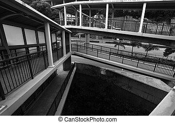 foot bridge in Hong Kong, black and white