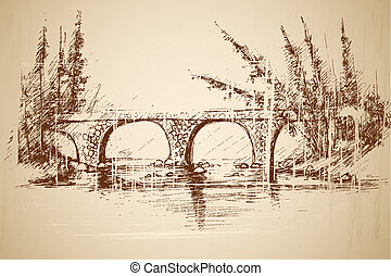 Foot Bridge in Park - illustration of foot bridge in park in...