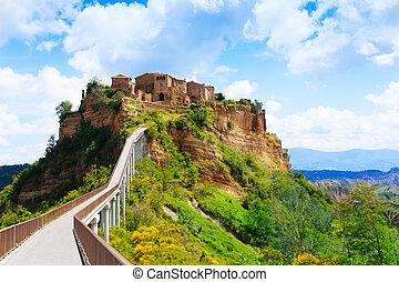 Foot bridge to Bagnoregio town on the ountain, Lazio, Italy