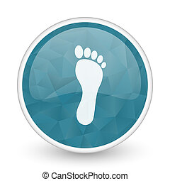 Foot brillant crystal design round blue web icon.