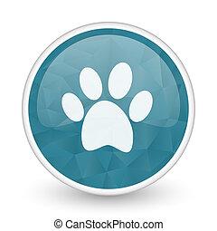 Foot brillant crystal design round blue web icon.