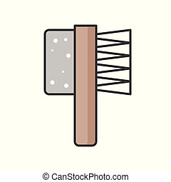foot brush, filled outline icon