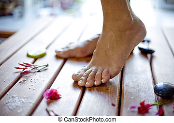 foot care - close up feet in a spa