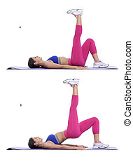Step by step instructions: With your back on the ground, put one leg straight up in the air. (A) Slightly bend the other leg keeping the body straight, raise and lower the hips with control. (B)