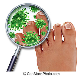 Foot Fungus disease with a close up of the human body...