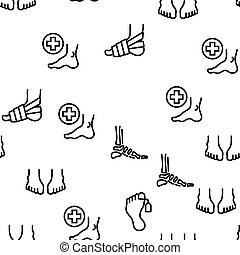Foot Human Body Part Vector Seamless Pattern Thin Line ...
