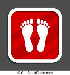 Foot icon. Flat design square internet banner.