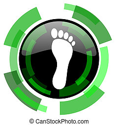 foot icon, green modern design isolated button, web and mobile app design illustration