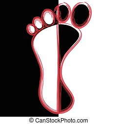 Illustration black and white feet like abstract background.