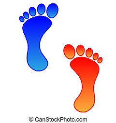 Illustration of two colored foots with a heavy outline.