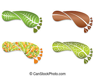 Foot made of leafs. Vector illustration.