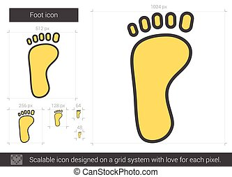 Foot line icon. - Foot vector line icon isolated on white...