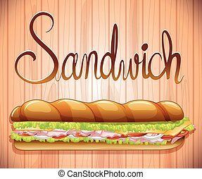 Foot long sandwich with ham and veggies illustration