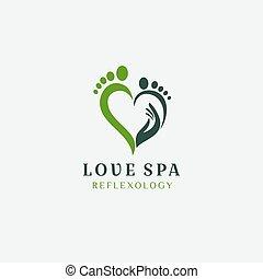 Foot Love Reflexology Logo Design Vector