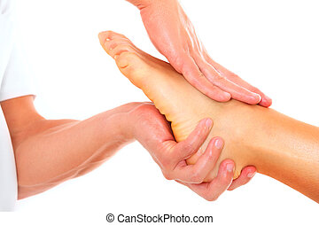 Foot massage - A picture of a physio therapist giving a foot...