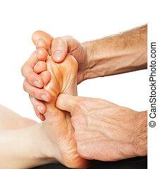Foot massage and spa foot treatment - Closeup of foot...
