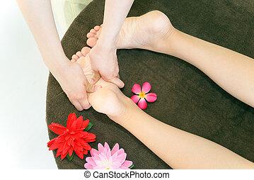 Foot massage at spa