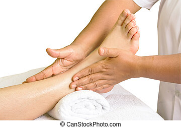 foot massage, spa foot oil treatment in white background -...