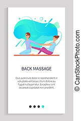 Foot massage vector, masseuse using feet to rub back of client. Person helping customer to deal with pain relief, ache of female on floor. Website or app slider template, landing page flat style