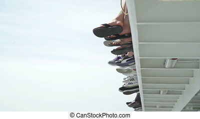 Foot of passengers on ferry boat
