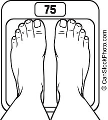 foot on the scale (scale spot, diet program concept, human scales, feet on weighing scales, legs on weights, foot on bathroom scale, feet on the balance)