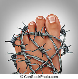 Foot Pain - Foot pain podiatry medical concept as a symbol...
