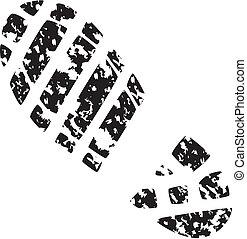 foot print - vector illustration of man's grunge foot print