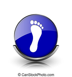 Foot print icon - Blue shiny glossy icon on white background