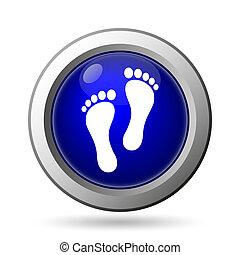 Foot print icon. Internet button on white background.