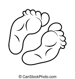 foot print icon outline design isolated on white background