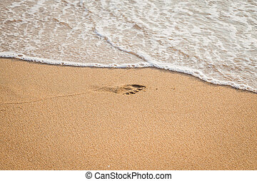 Foot print of child on the beach