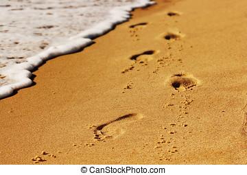Foot print on the beach.