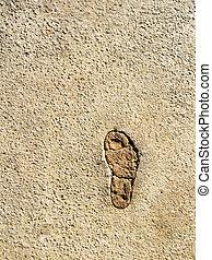 Foot print  - Single foot print in a road - detail