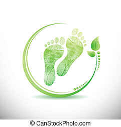 foot print with leaves all around illustration design over white