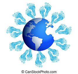 foot prints around the earth illustration design on white