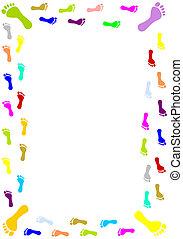 Foot prints border - Colourful foot prints border - vector...