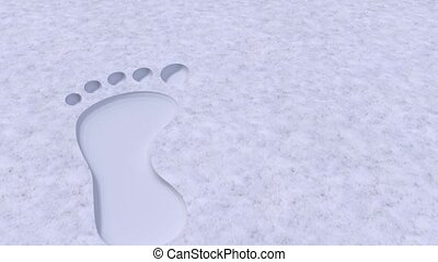 Foot prints footprints bare barefoot feet in snow 4k