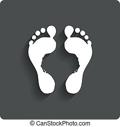 Foot prints label. Human footprint icon. Barefoot. - Foot...