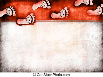 Foot Prints Note Paper - A digitally painted scrappy note...
