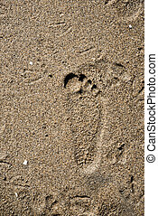 Foot prints on a beach