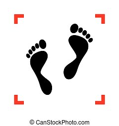 Foot prints sign. Black icon in focus corners on white...