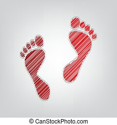 Foot prints sign. Red gradient scribble Icon with artistic contour gray String on light gray Background.