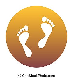 Foot prints sign. White icon in circle with golden gradient as b