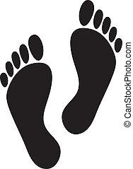 foot prints (two black man footprints)