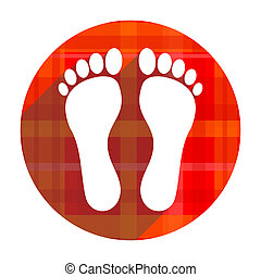 foot red flat icon isolated