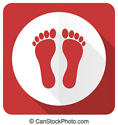 foot red flat icon