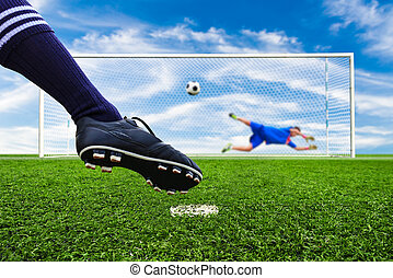 foot shooting soccer ball to goal, penalty