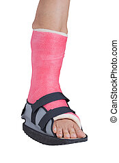 Foot splint treatment of injuries from ankle sprain, isolated on