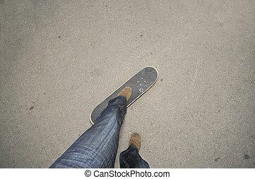 Foot standing on skate board